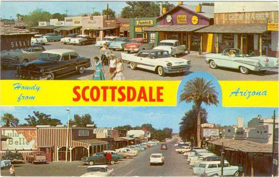 Scottsdale Arizona Vintage Postcard Old Town Scottsdale Resort Area Scottsdale