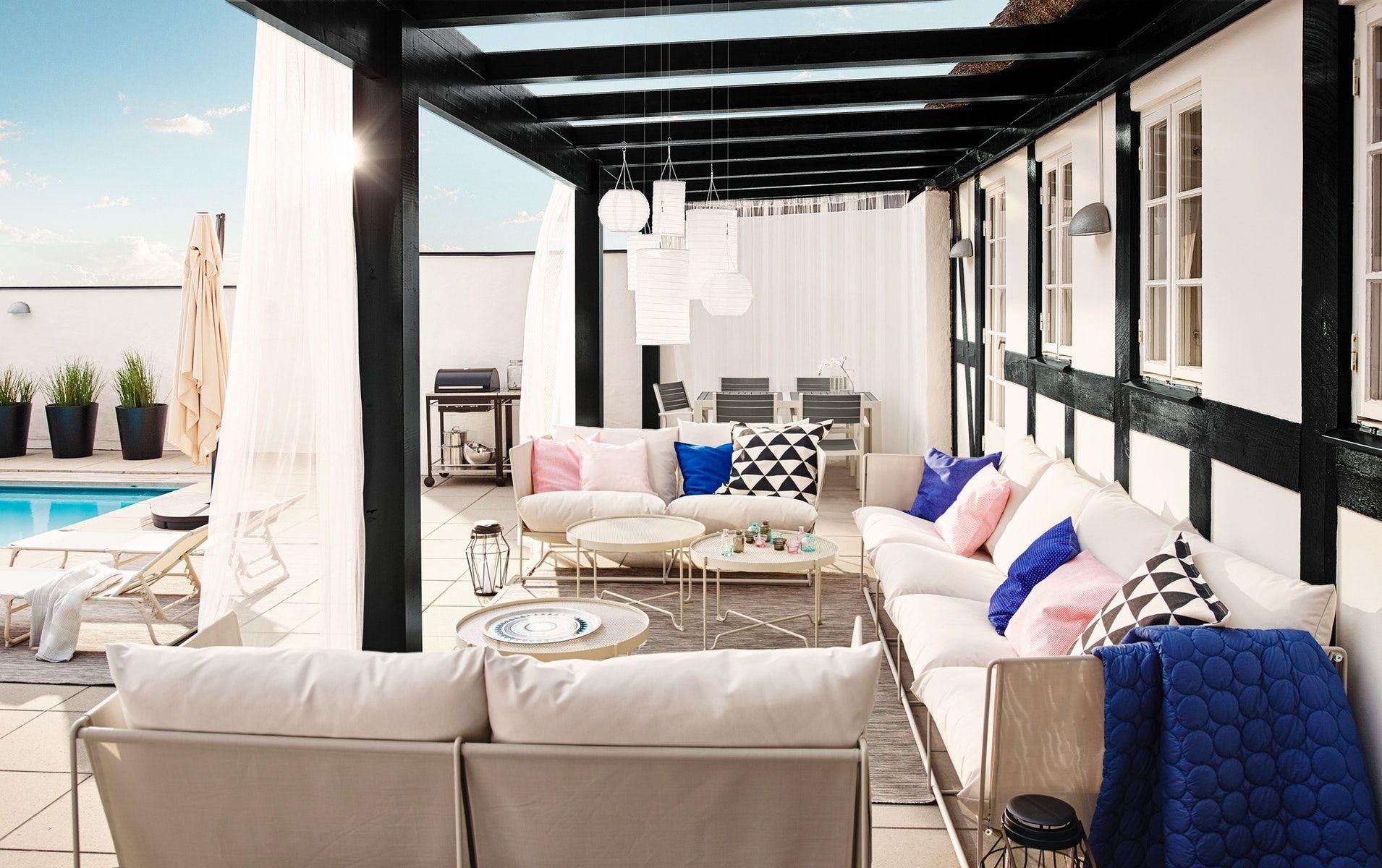 Havsten 2 Seat Sofa In Outdoor Beige Ikea Switzerland Sit Back And Relax Living Room Table Outdoor Couch