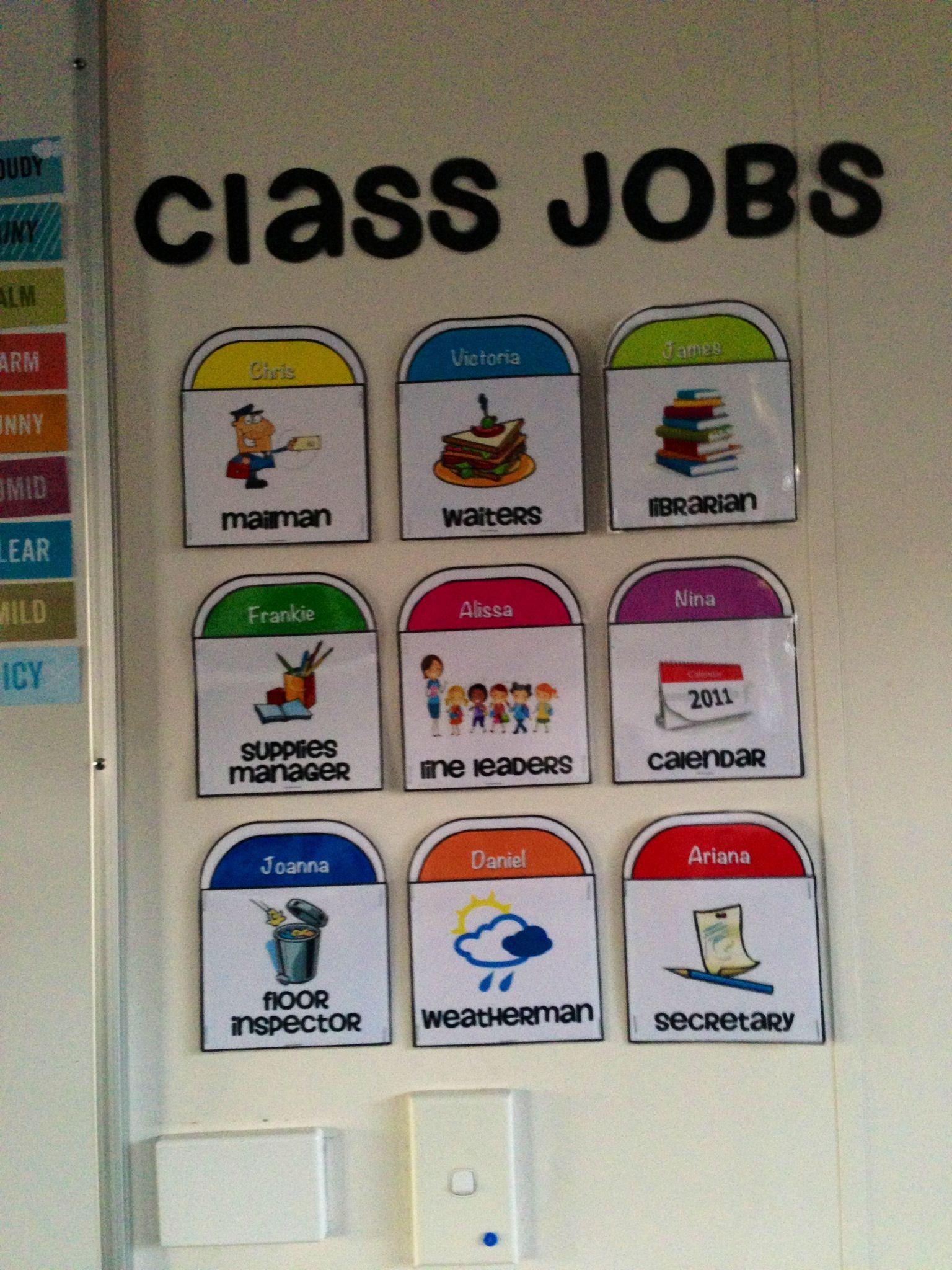 Class job chart classroom charts job chart class jobs
