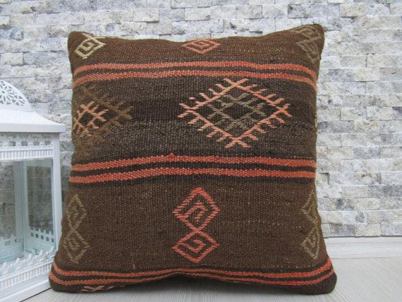 Home Decor Organic Pillow Kilim Lumbar Pillow 18 x 18 Pale Color Large Embroidery Design Throw Pillow Sofa Pillow Aztec Rug Kilim Pillow