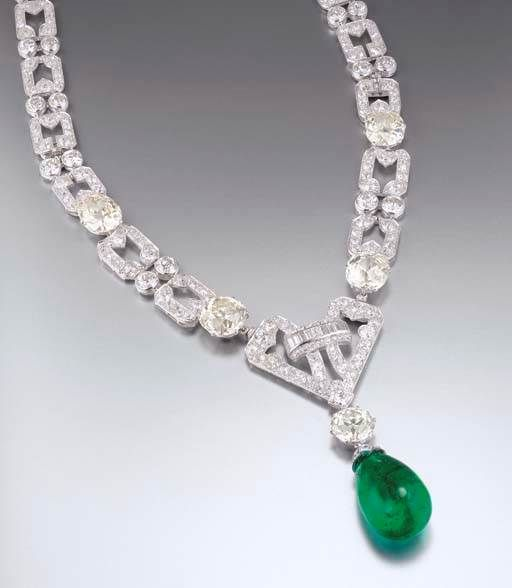 cf218e22c8766 AN IMPRESSIVE ART DECO EMERALD AND DIAMOND NECKLACE, BY CHAUMET ...
