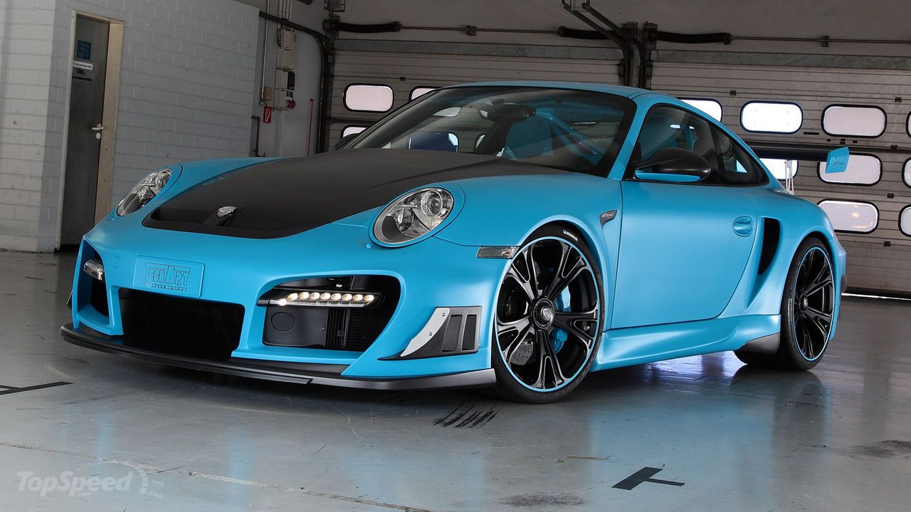 some one painted a porsche 911 turbo gt street r with really cool techart