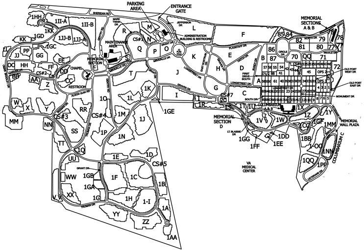 map of jefferson barracks national cemetery