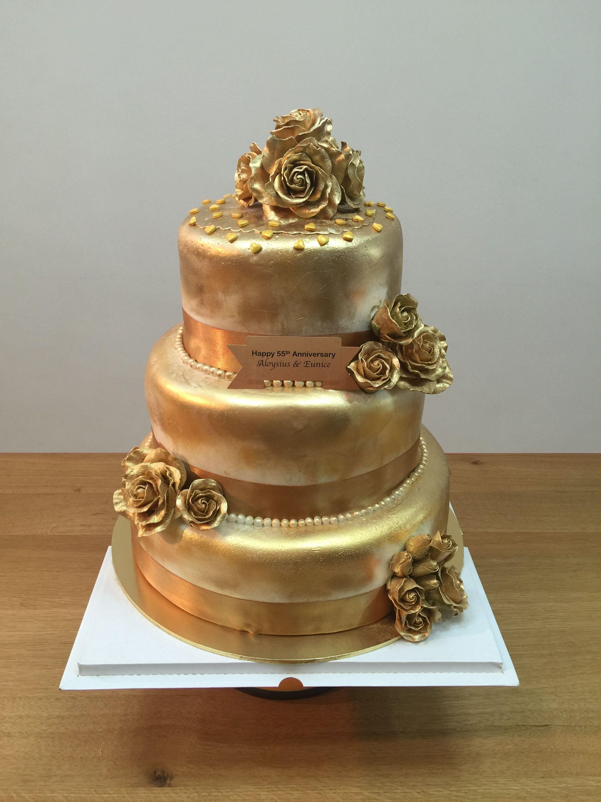 50th Wedding Anniversary Golden Cake Bakerina