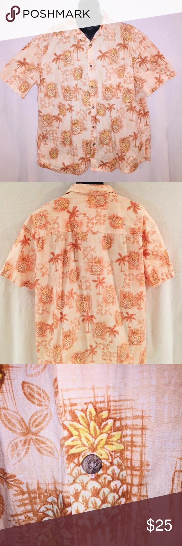 4d75f74f Island Shores Button Down Shirt Pineapples XXL 🌴 Island Shores Men's  Hawaiian Shirt PineApples & Palm Trees Button down Spare button sewn into  seam Short ...