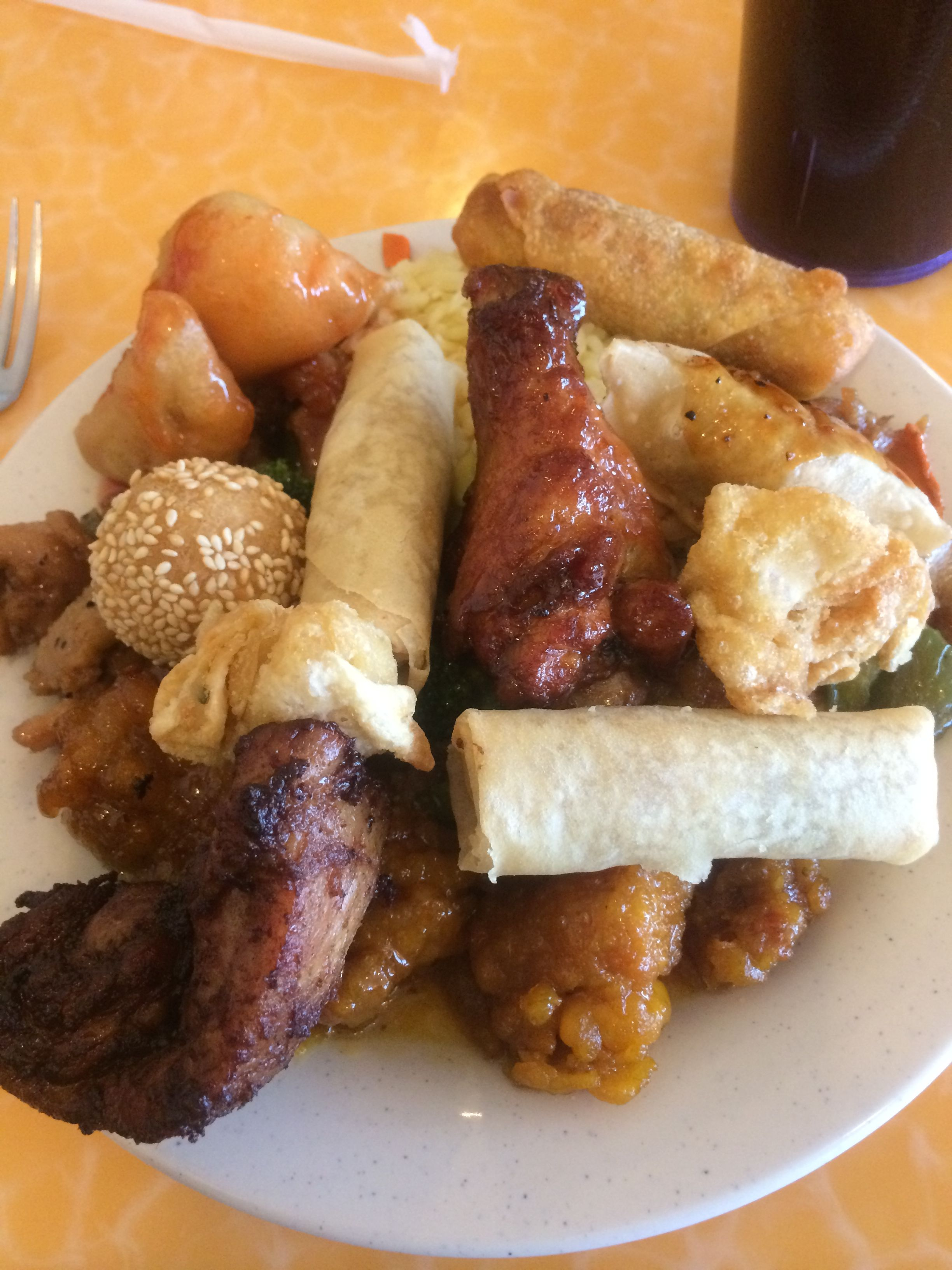 My plate from hitting up the buffet line at New China Buffet in ...
