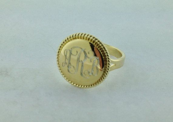 Gold Plated Nautical Rope Monogrammed Ring for by netexchange