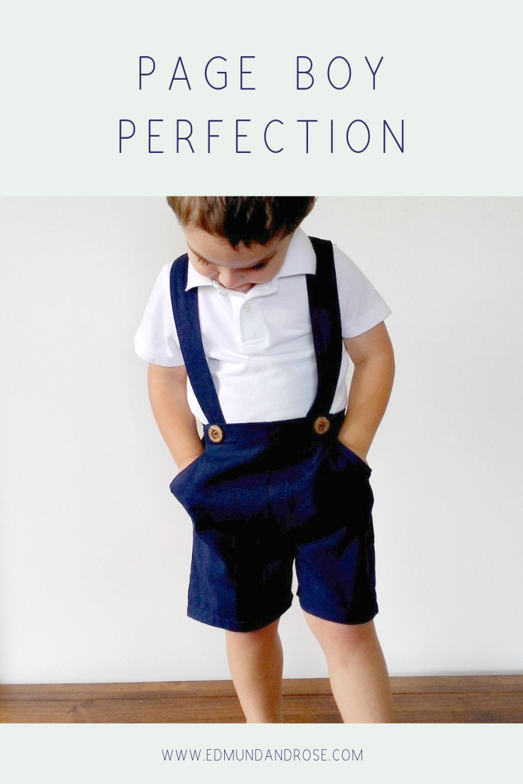 Edmund and Rose suspender shorts are the perfect outfit for your Page Boys.  Available in a wide range of fabrics to suit your wedding colour pallet. Handmade with love for your big day.
