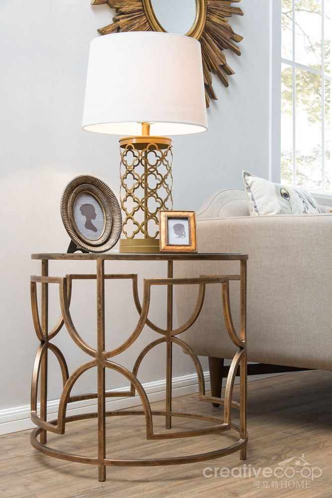 Bohemian sofia antique brass metal glass round side - Metal side tables for living room ...