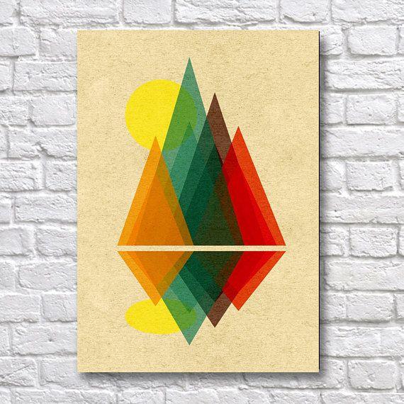 Geometric Mountain Landscape - A4 Surreal Art Prints - Surreal Wall ...