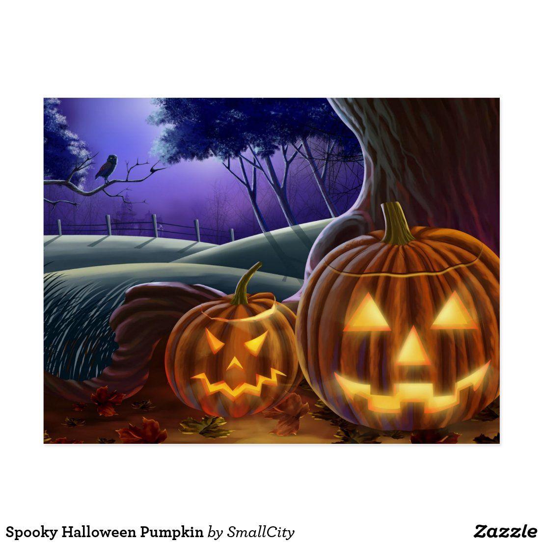Spooky Halloween Pumpkin Postcard in 2020