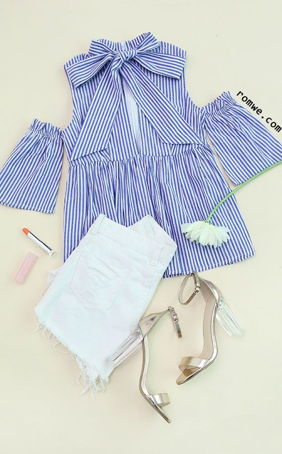 b47666e3404c9b Blue Striped Tie Neck Cold Shoulder Babydoll Blouse Size Available:  XS,S,M,L Type: Slim Fabric: Fabric has no stretch Season: Summer Pattern  Type: Striped ...