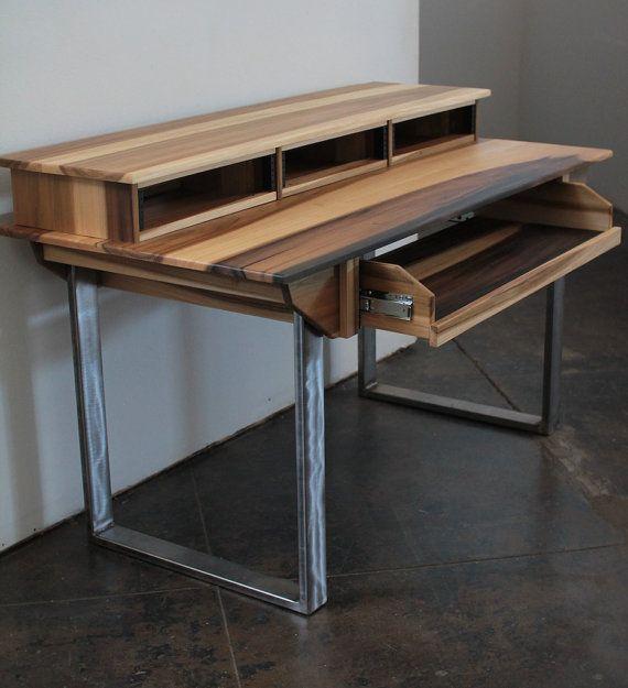 compact modern wood recording studio desk for composer producer photographer designer. Black Bedroom Furniture Sets. Home Design Ideas