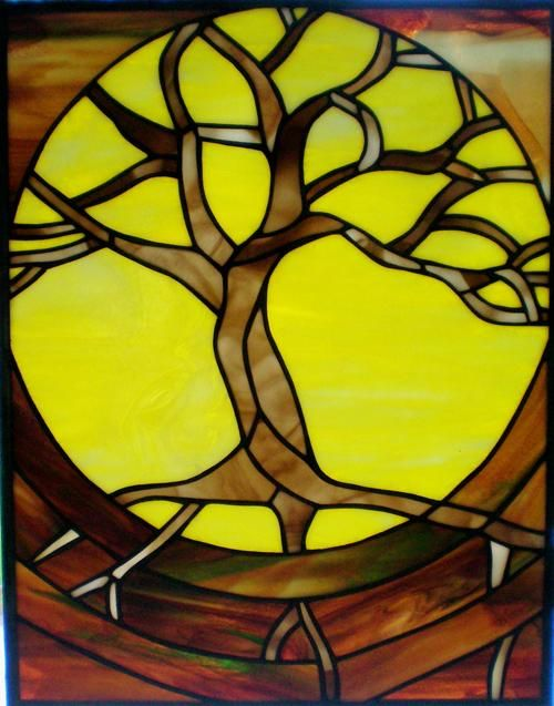 Tree of life stained glass designs | Tree of Life Stained Glass Panel...I would change the yellow to blue or sunset colors, or even make it all black and white for a more dark look!