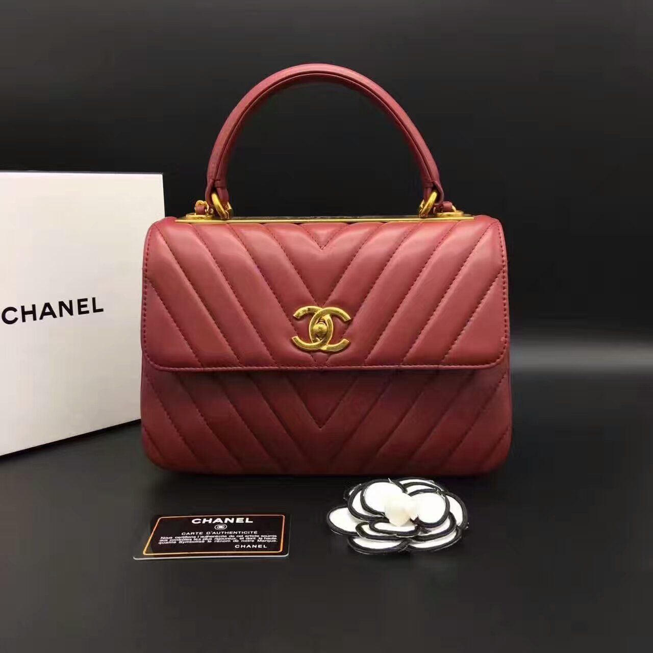 d08d323f0c98b9 Chanel Chevron Top Handle Bag Original Sheepskin Leather A92236 Burgundy  Whatsapp:+8615817091613 for more pics and other payment options.