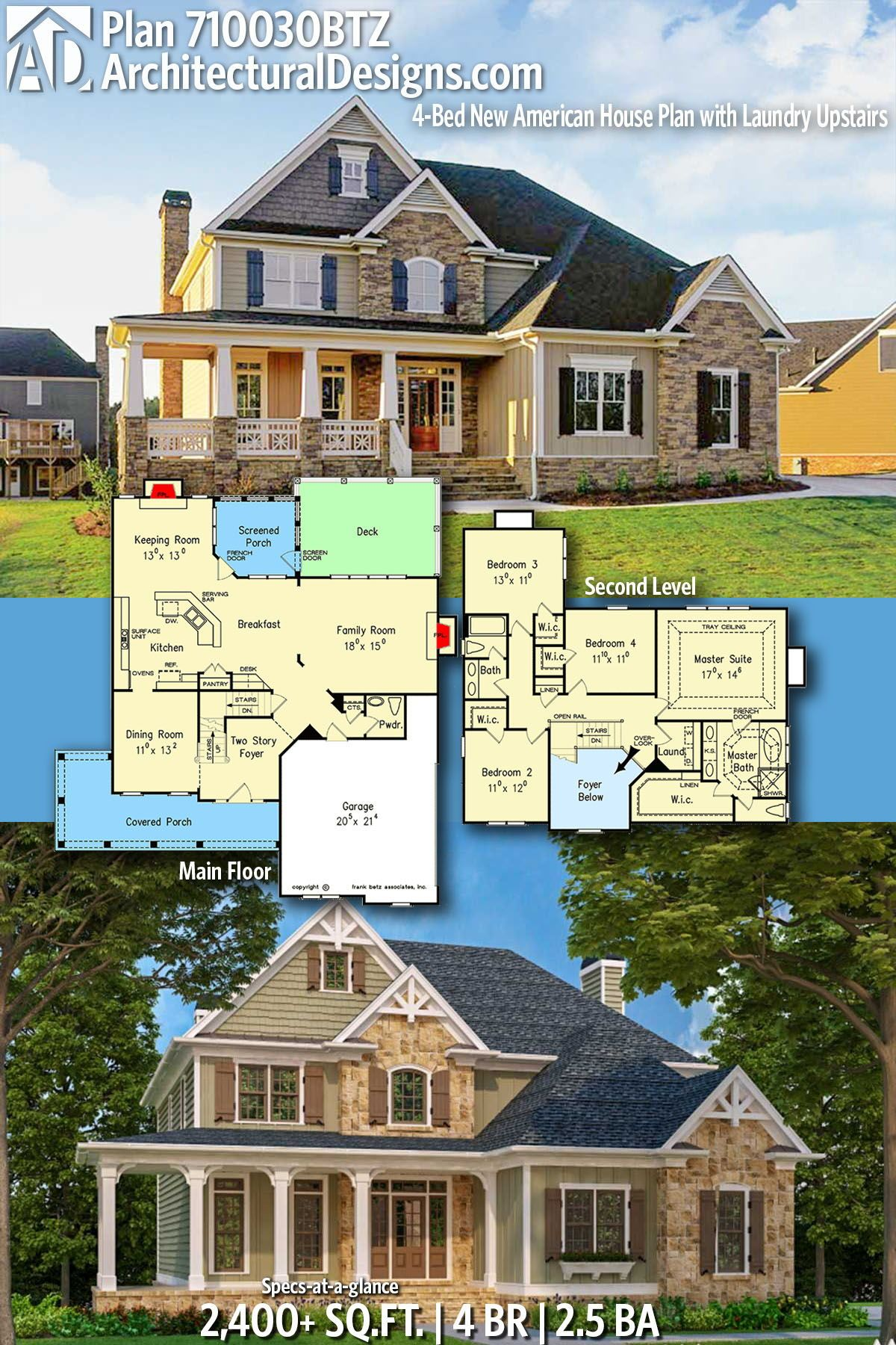 Plan 710030btz 4 Bed New American House Plan With Laundry Upstairs Sims House Design House Plans House Blueprints