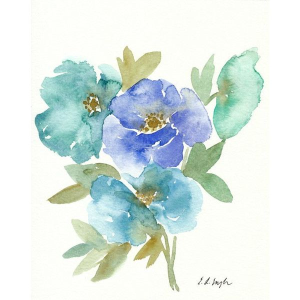 Blue And Green Poppy Flowers Original Watercolor Painting 8x10
