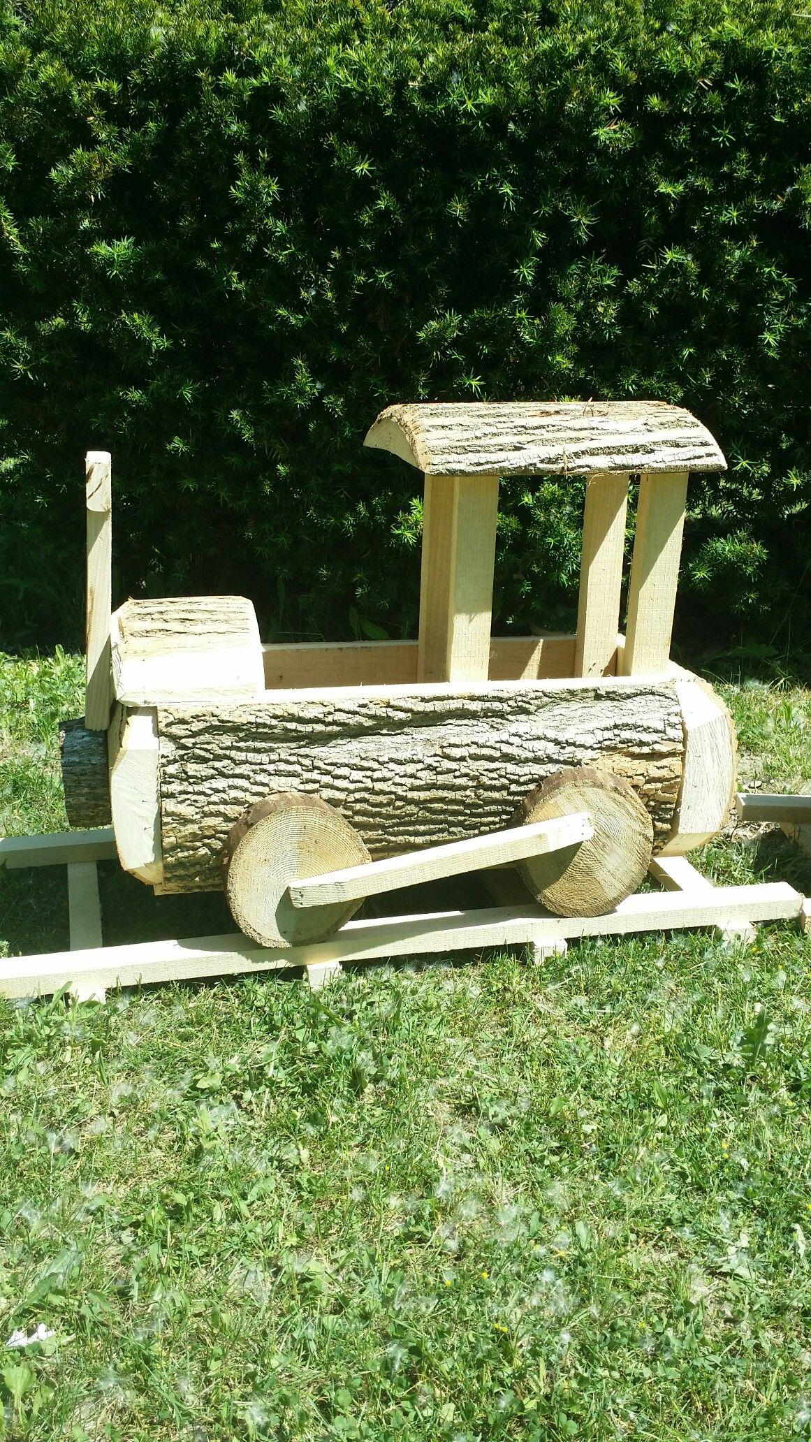Train Planter Box From Ash Slab Wood 24X12X24 Tall
