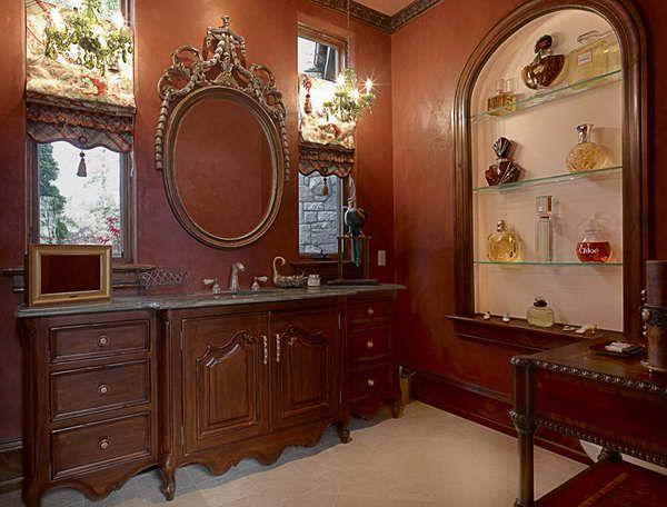 Victorian Walls bathroom:victorian era bathroom with brown walls victorian era