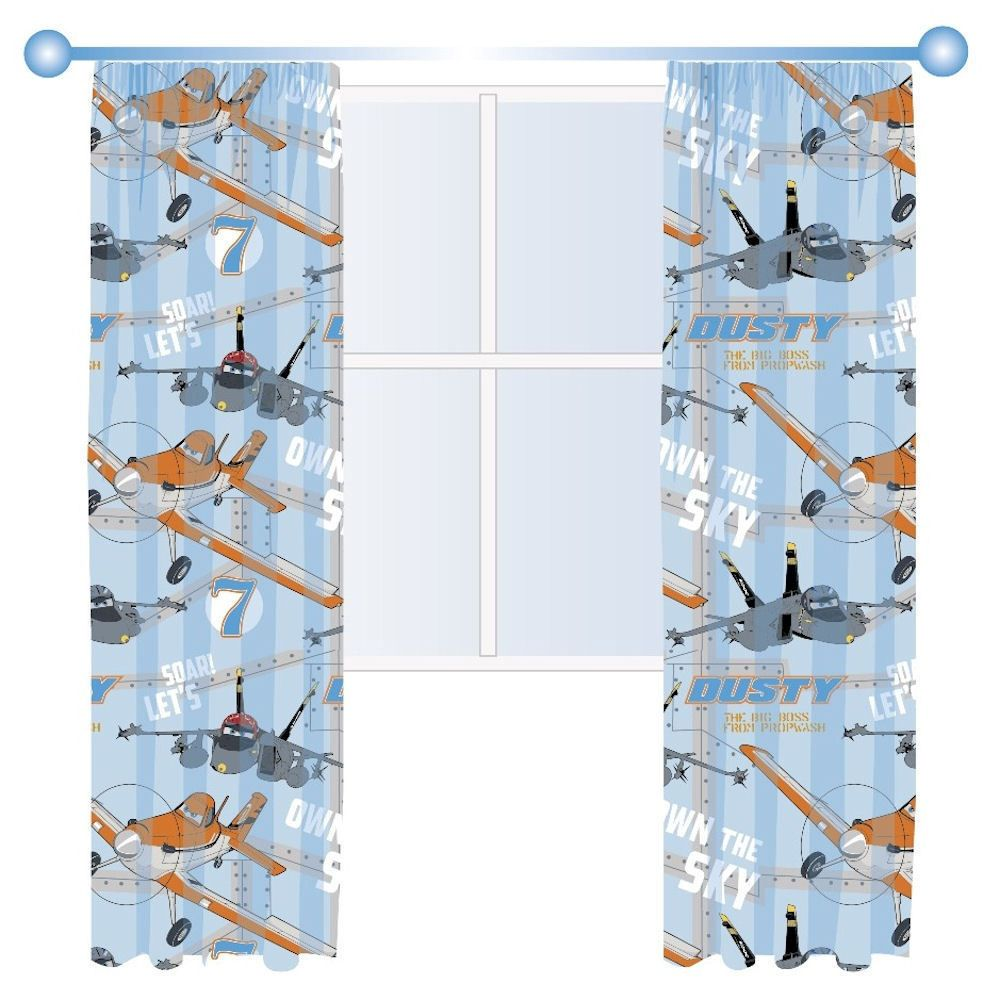 Disney Planes Dusty Aircraft Blue Boys Childrens Bedroom Ready Made Curtains