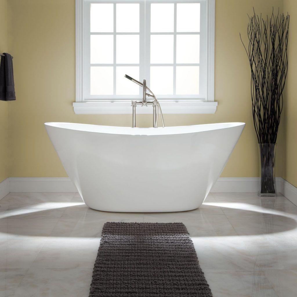 bathroom double sleeper white fiberglass bathtub mixed gray cotton ...