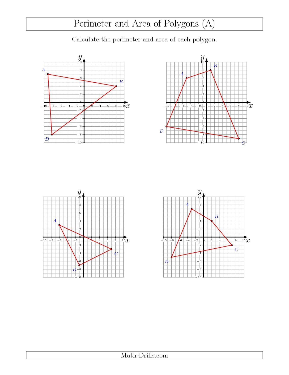Perimeter and Area of Polygons on Coordinate Planes (A) Geometry Worksheet    Geometry worksheets [ 1584 x 1224 Pixel ]