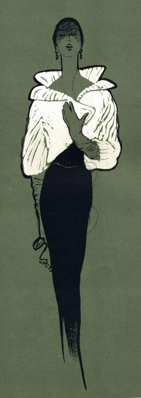 Glamorous Woman Black and White Fashion Illustration INSTANT DOWNLOAD   Amybarickman.com