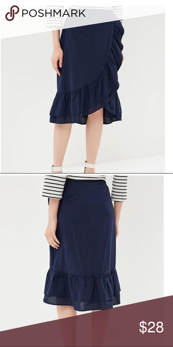 d6e2099b32e5a NWT Gap Ruffle Wrap Midi Skirt 2P Blue v732 Brand label has been marked  through to