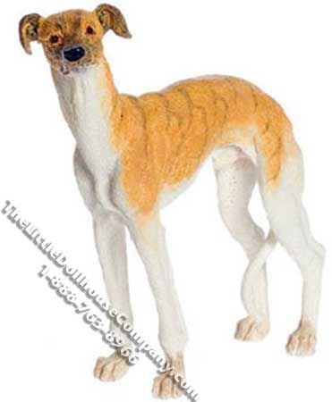 """This miniature standing Whippet is prefect for your dollhouse. This lovely resign dog is white with orange markings on his head and back.   Dimensions: 3"""" long x 1"""" wide x 3-3/8"""" tall. Functionality: Dog is fixed, not posable.  Available at:  http://www.thelittledollhousecompany.com/dollhouses-miniatures-furniture-kits/miniature-whippet-standing-for-dollhouses-1/"""