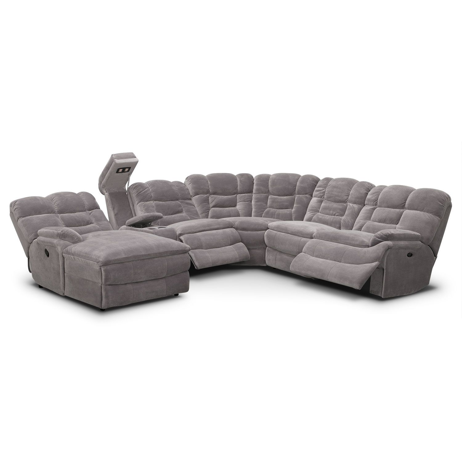Big Softie 6 Piece Power Reclining Sectional With Chaise And 2 Reclining Seats Reclining Sectional With Chaise Reclining Sectional Value City Furniture