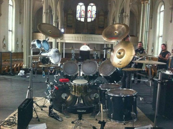 huge drumkit set up in the church for worship drummer drumming drums drum kits music. Black Bedroom Furniture Sets. Home Design Ideas