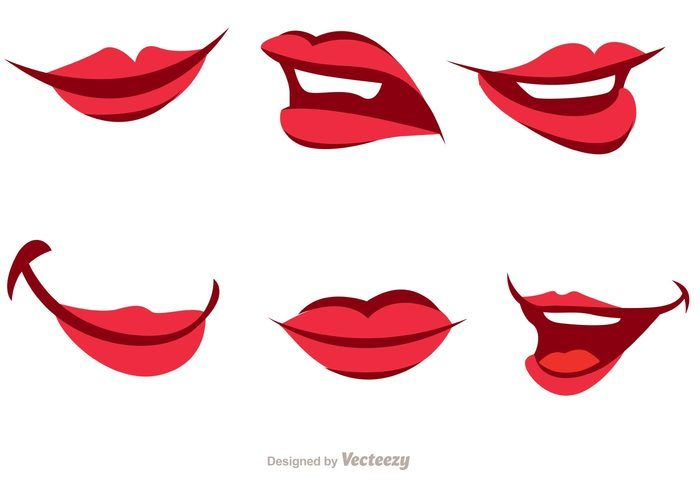 Girl Cartoon Mouth Vector Pack Cartoon Mouths Lips Cartoon Lips Drawing