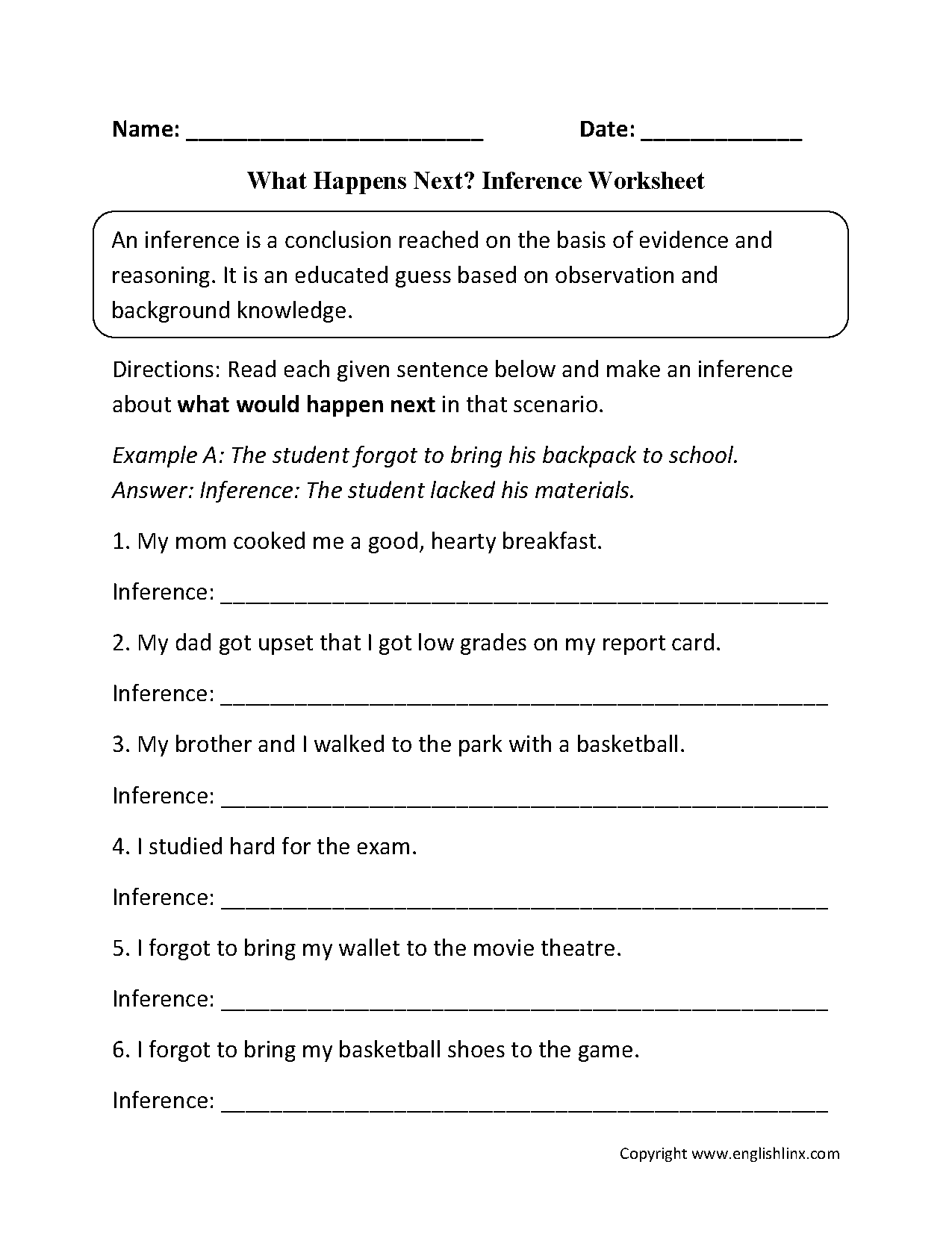 What Happens Next Inference Worksheets