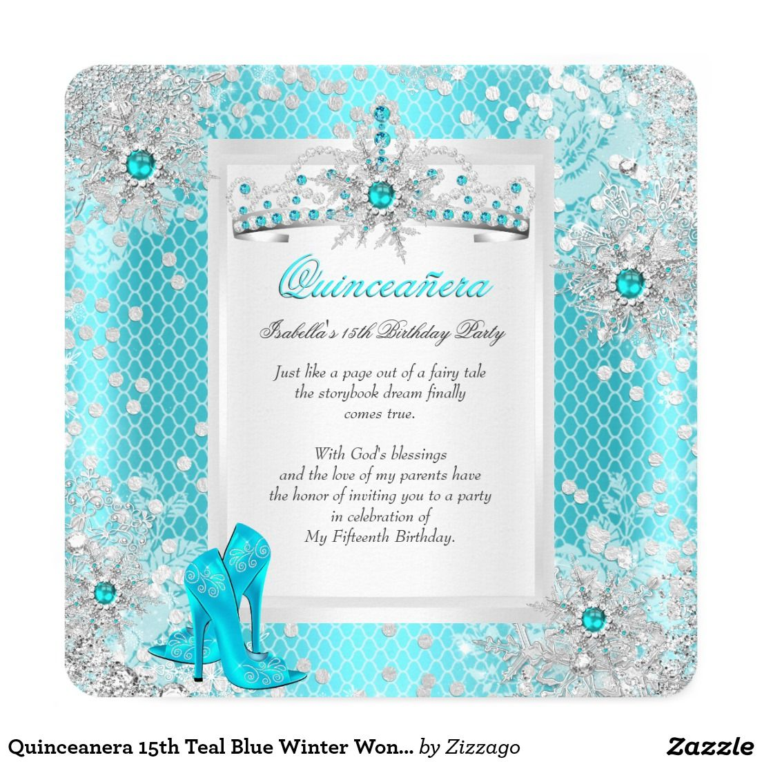 Quinceanera 15th Teal Blue Winter