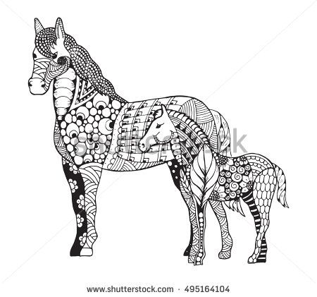 Mare With Little Foal Standing Zentangle Stylized Freehand Pencil Zen Art Vector Illustration Horse Coloring Pages Horse Drawings Mandala Art Lesson