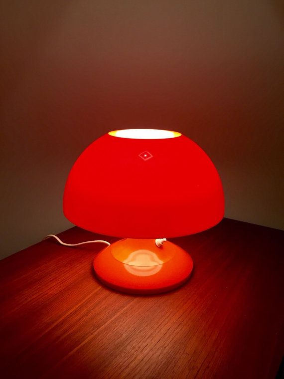 Bent Karlby 70s Danish Space Age Orange Table Light Etsy In 2020 Orange Table Light Table Orange Lamps