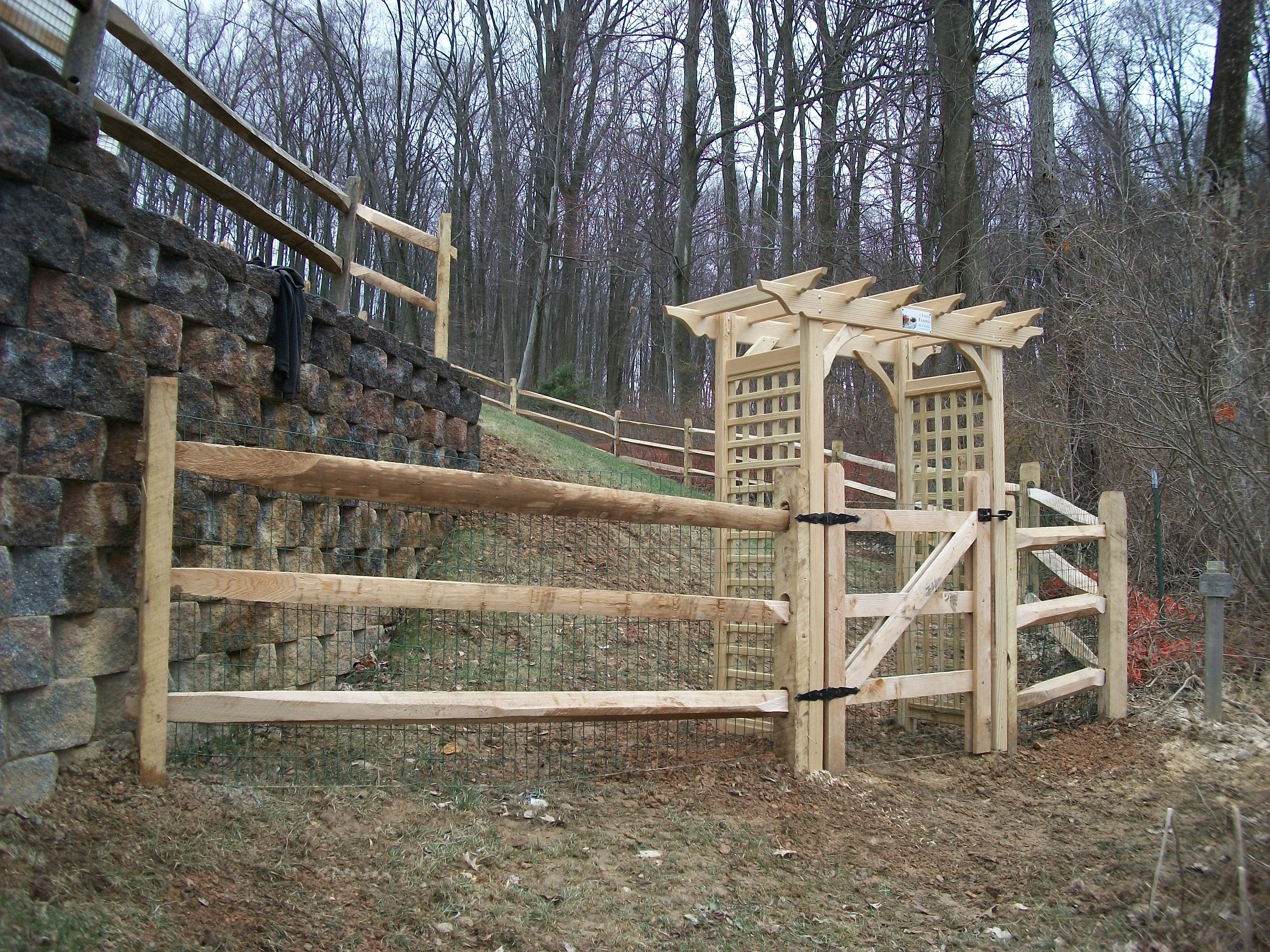 Colonial Straight Top Arbor With Split Rail Fence On Both