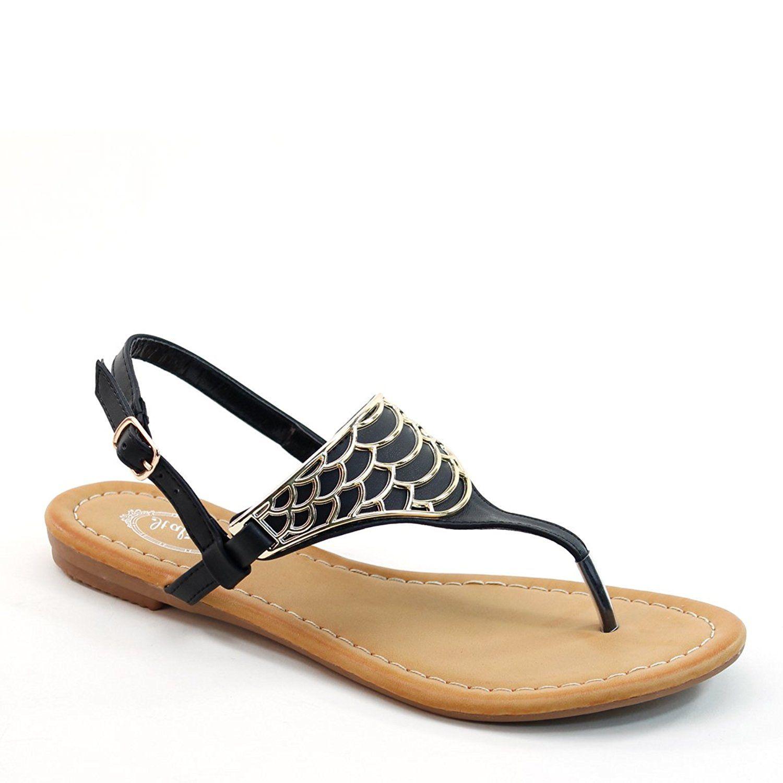 5bf0b02aa1d5 New Brieten Women s Comfort Metallic Ornament Fish Skin Flip Flops  Slingback Sandals     Check