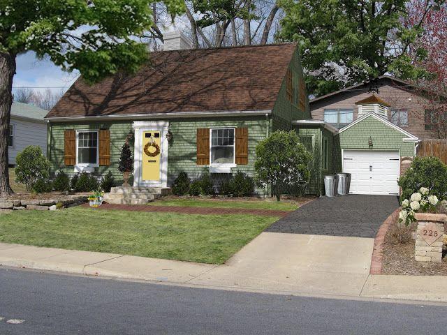 Best Green House With Cedar Shutters House Exterior Blue 400 x 300