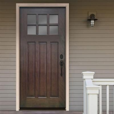 Steves U0026 Sons Craftsman 6 Lite Stained Mahogany Wood Left Hand Inswing  Entry Door With 4 In. Wall And White Frame M3306 6 HY WJ 4ILH At The Home  Depot