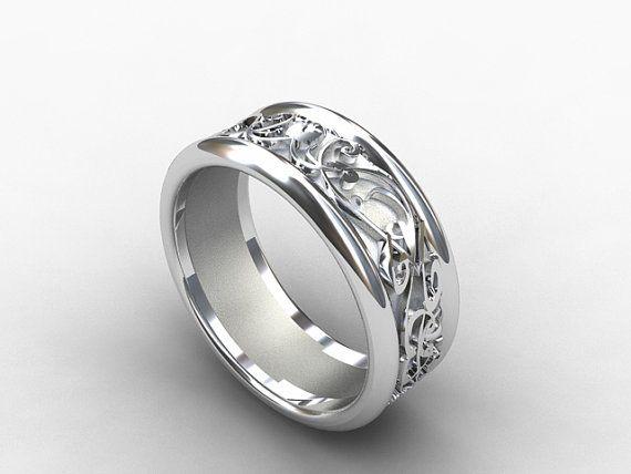 White Gold Wedding Band Wide Ring Filigree Mens Men