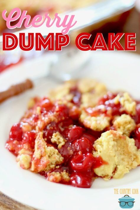 Easy cherry dump cake is part of Cherry dump cake - This easy Cherry Dump Cake dessert is made with cake mix, cherry pie filling, butter and a secret ingredient   Dump  and bake!