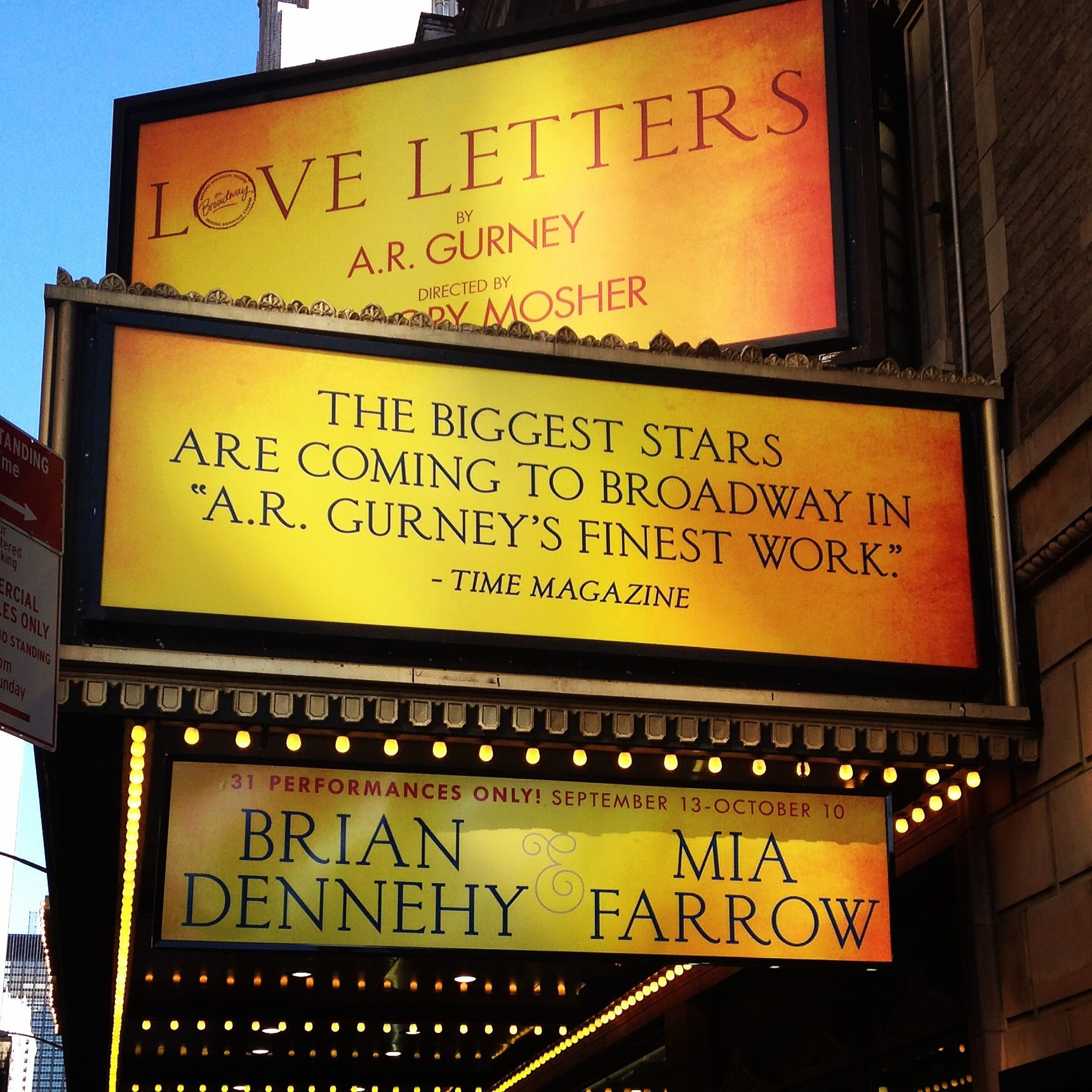 Love Letters by A.R. Gurney starring Brian Dennehy and Mia Farrow at the Brooks Atkinson Theatre on Broadway (Sep 18, 2014 - Dec 14, 2014)