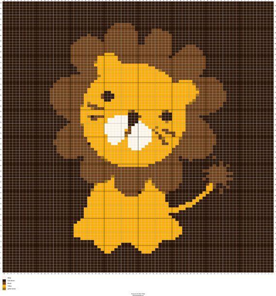 3a741b694 Knit Baby Lion Graph Knitting Chart Intarsia by FADesignCharts ...
