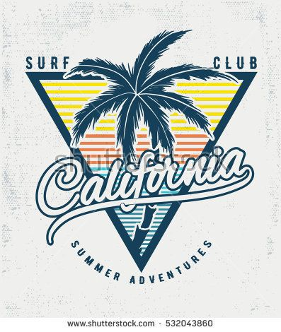 5a42fce318 California Surf typography for t-shirt print , vector illustration ...