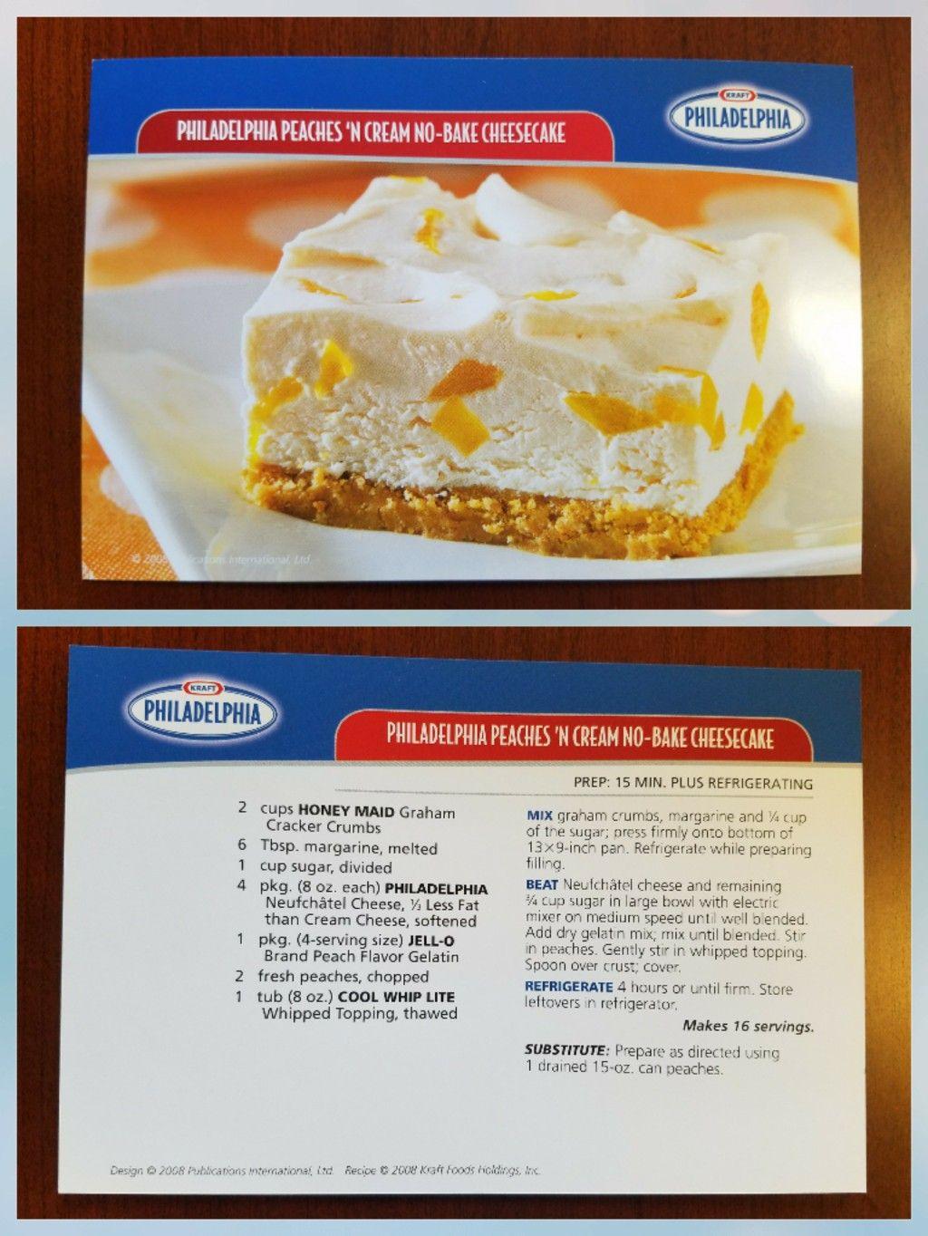 Philadelphia Peaches N Cream No Bake Cheesecake Honey Maid Graham Crackers Sweet Treats Desserts Dessert Recipes