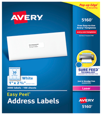 Avery Easy Peel Adhesive Mailing Address Labels For Laser Printers 1 X 2 5 8 Inches White Box Of 3000 Avery Address Labels Address Label Template Address Labels
