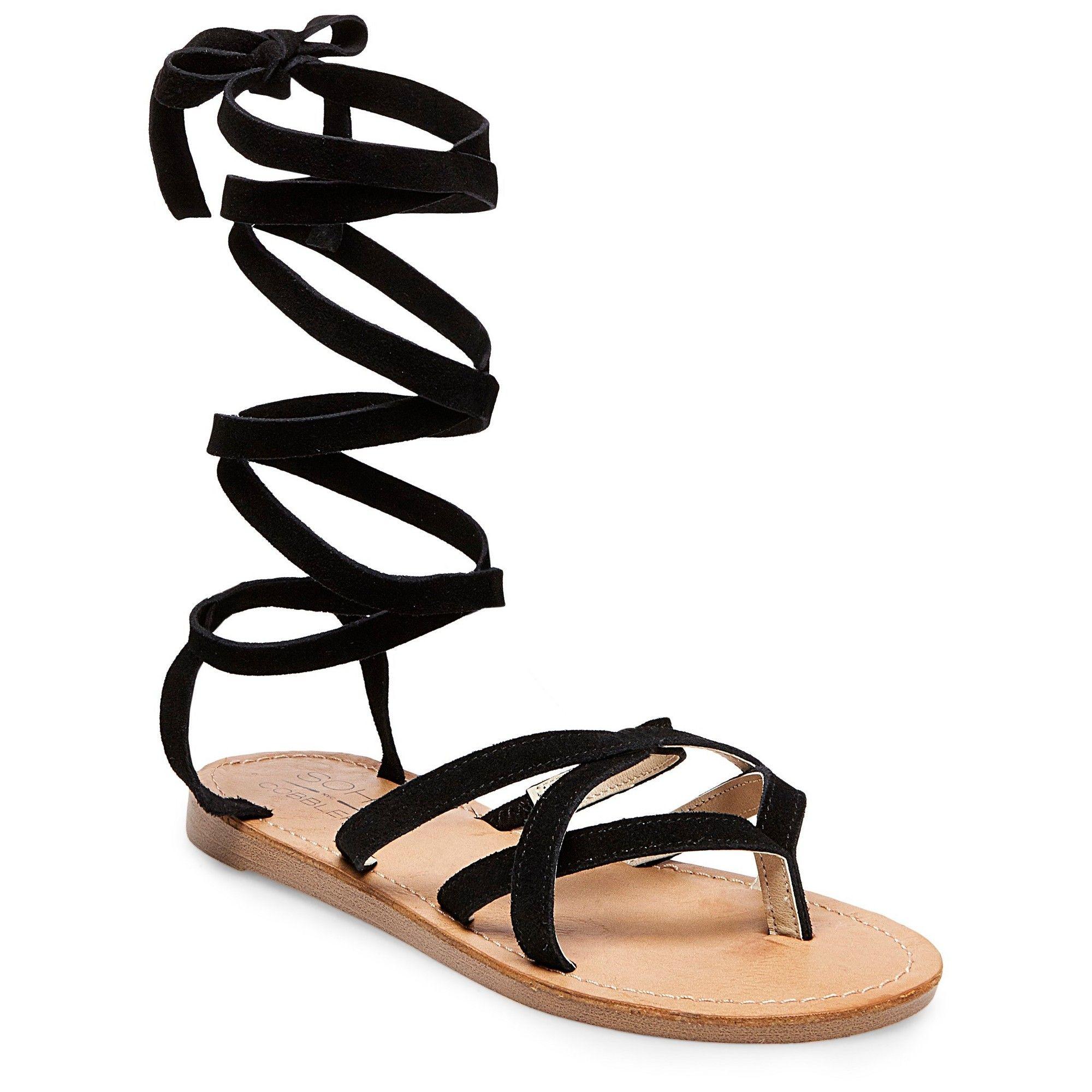 9b4eee49f1565 Women s Soho Cobbler Amathist Suede Ankle Wrap Gladiator Sandals - Black 7.5