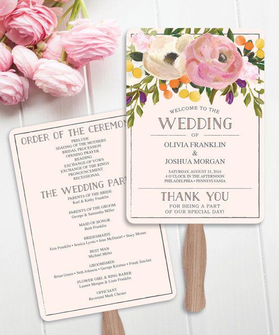 wedding fan programs sweet blooms wedding program template