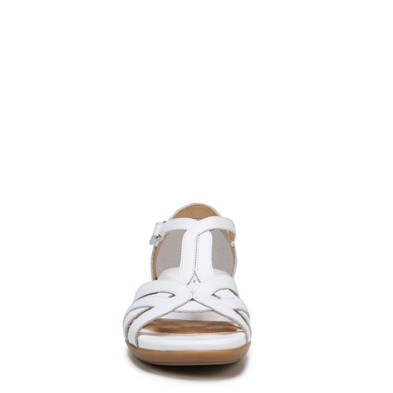 2edd46cede53 Naturalizer Women s Nella Medium Wide Sandals (White Leather ...